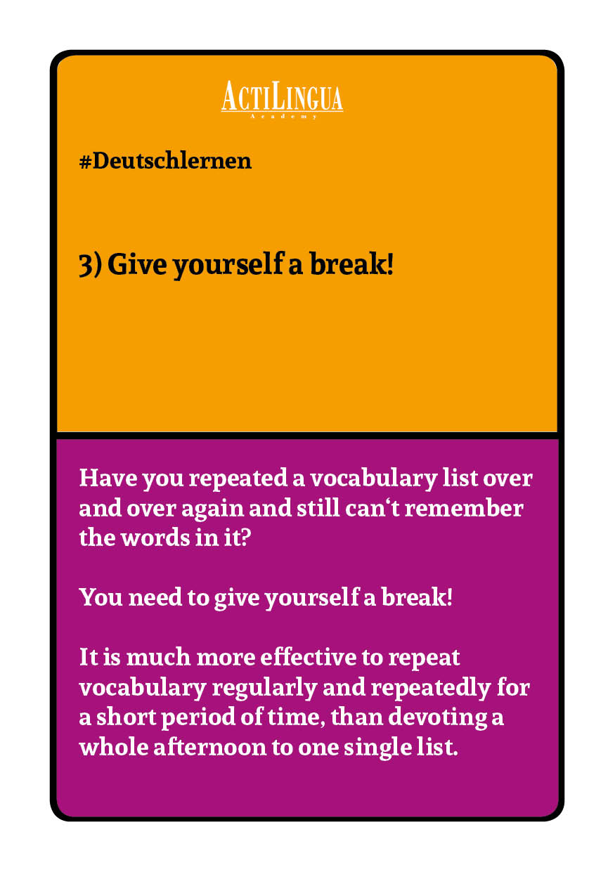 Give yourself a break from learning