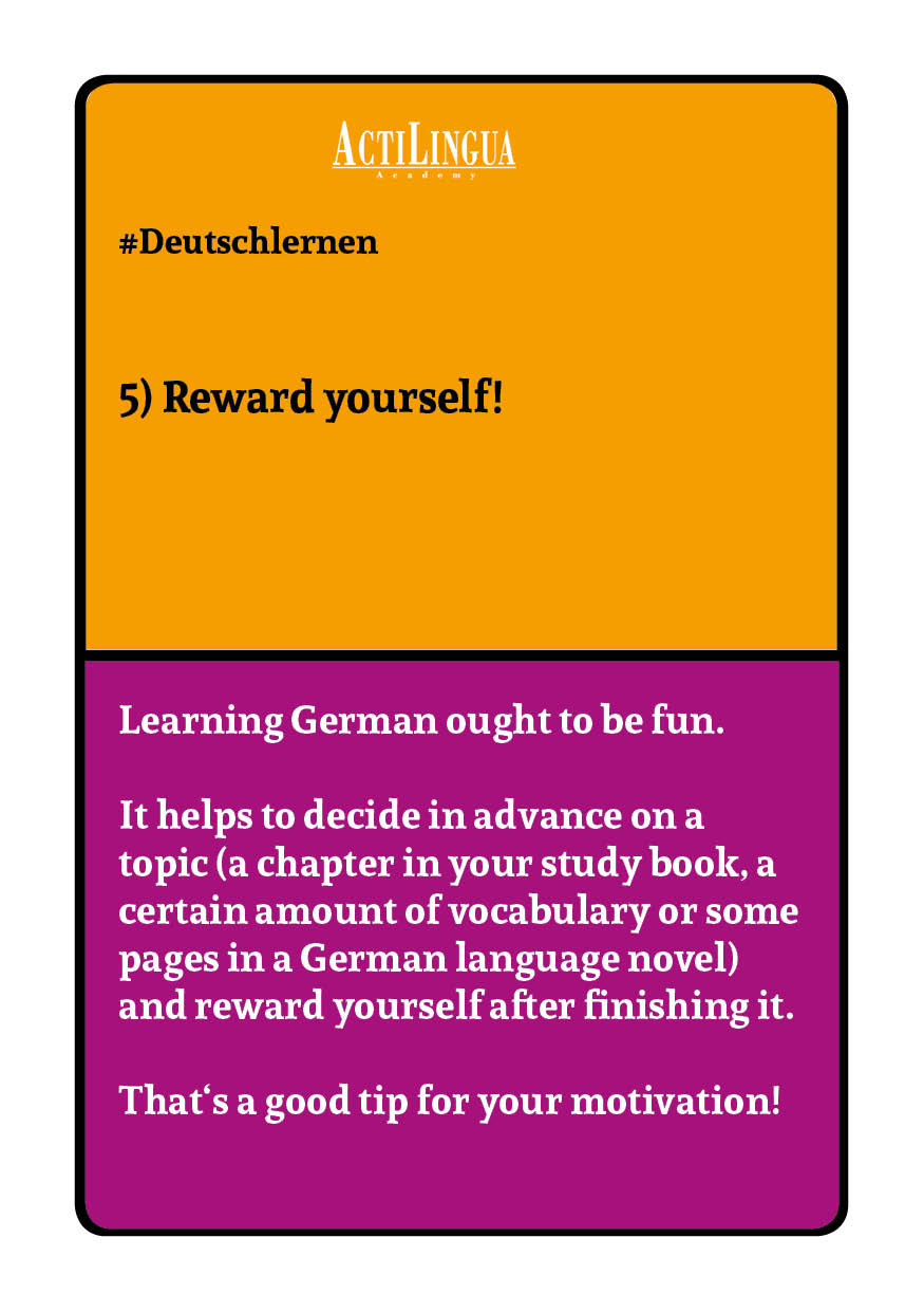 Reward yourself for learning German