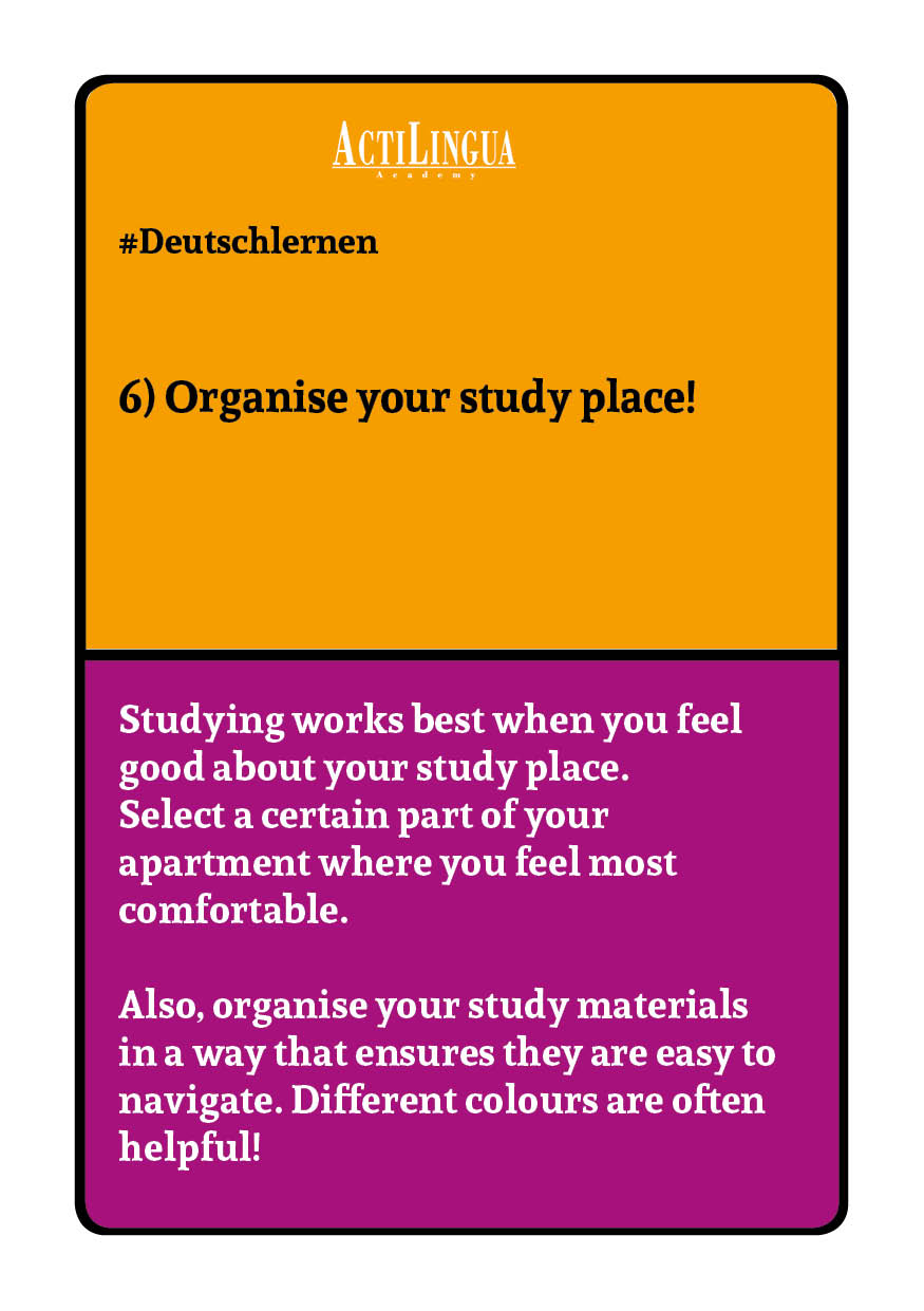 Organise your study place